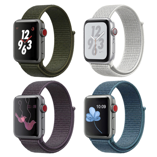 Band For Apple Watch Series 3/2/1 38MM 42MM Nylon Soft Breathable Replacement Strap Sport Loop for iwatch series 4 40MM 44MM