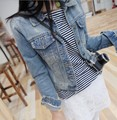 2016 spring arrival women's fashion stylish punk lapel denim jean biker coat