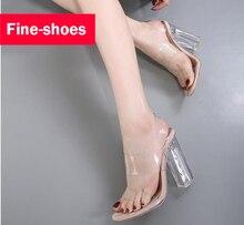 Neueste sommer offene spitze frauen pumpt schuhe promi tragen simple stil pvc klare transparente sandalen high heels schuhe frau 515