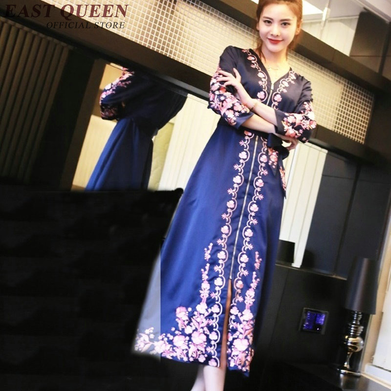 Vintage floral print robe femme elegant woman dress 2017 fashion v neck silky embroidery dress vestidos AA3065 YQ