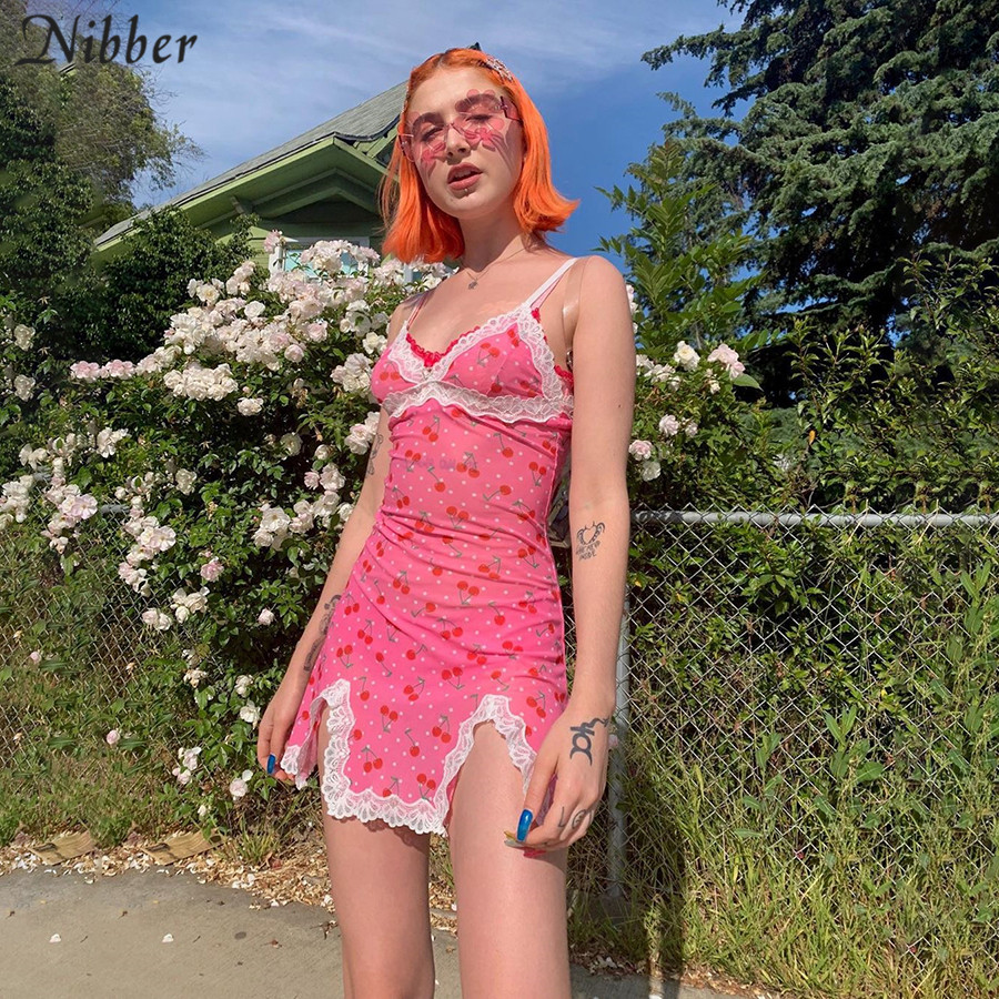 Nibber2019summer cute girls pink lace up bodycon mini dresses womens fashion casual party wild printing Basic short dress mujer(China)