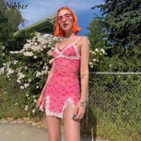 Nibber201919-vestido corto ceñido con cordones para mujer, minivestidos rosas para mujer, moda informal para fiesta, estampado salvaje, básico