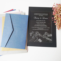 Sample Order For 5 7inch Great Wall Elements Rectangle Shape Clear Acrylic Wedding Invitation Card
