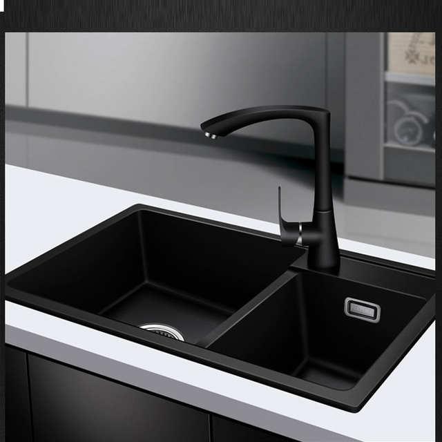 US $505.05 35% OFF|Quartz Kitchen sink Free shipping double groove double  bowl vegetable washing basin pots quartz stone Sinks Granite fregadero-in  ...