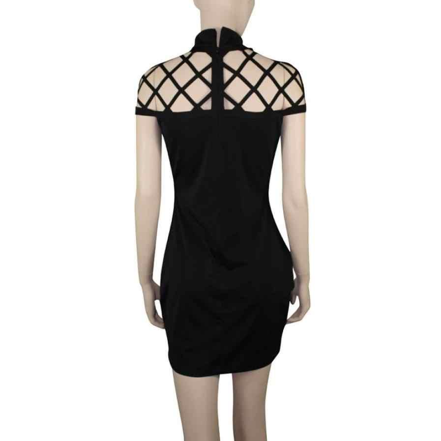 2019 женское офисное платье с коротким рукавом, открытые платья-карандаш, летние женские Повседневные Вечерние платья с высоким воротником, Vestido # YL5