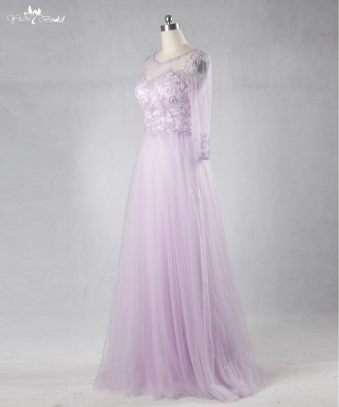 RSE714. long evening beading tulle prom dress lilac homecoming dresses (5)