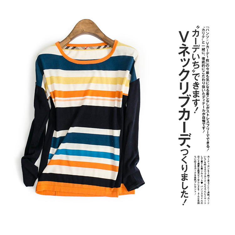 Autumn and winter new women s high end boutique rainbow round neck wool knit bottoming shirt