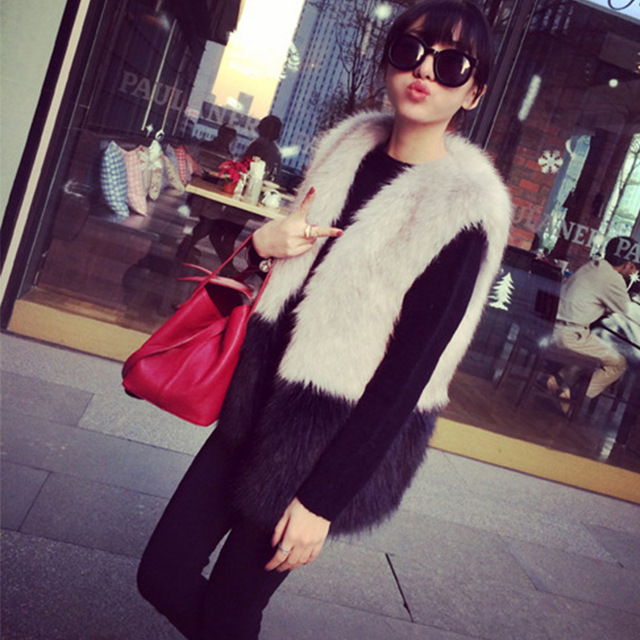 2016 Exclusive custom spring women's temperament man-made fox fur vest jacket hit color stitching vest