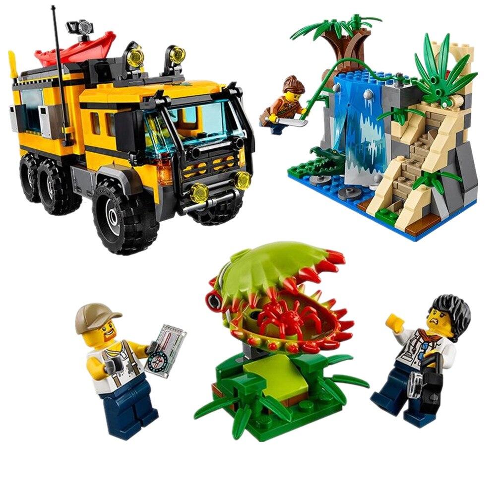 WAZ Compatible Legoe City 60160 Lepin 2017 02062 460pcs Jungle Mobile Lab Figure building blocks Bricks toys for children decool 3117 city creator 3 in 1 vacation getaways model building blocks enlighten diy figure toys for children compatible legoe
