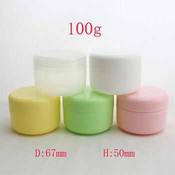 colored empty round plastic tin containers 100ml, 100g cosmetic makeup packaging PP bottles jar with caps  white/pink/yellow