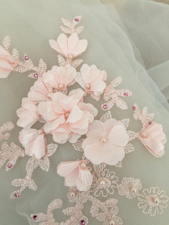3D pearl beaded lace applique in blush pink font b bridal b font veil font b