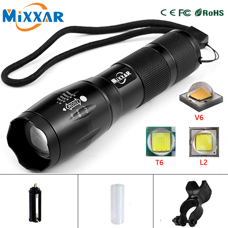 Dropshipping T6/L2/V6 8000LM 5 Mode LED Bike Bicycle Flashlight Light Q5 3000LM 3 Mode Zoomable Focus Torch Light Tactical