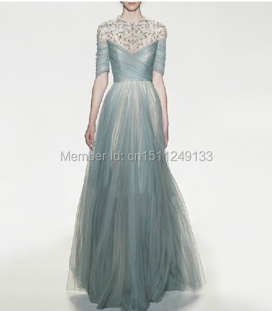 FREE SHIPPING light green grey color scoop with sleeves tull long A line  special occasion evening dress prom gowns dresses 85614b623fa8