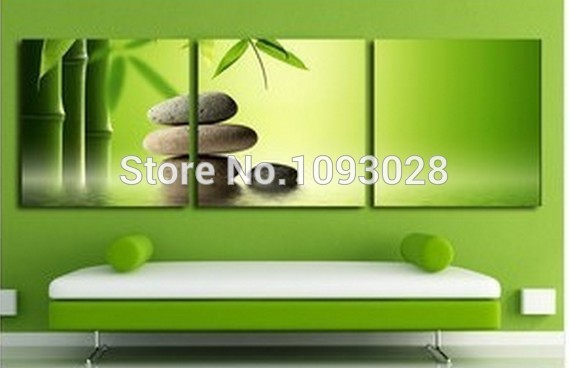 Hot Sale Green Bamboo Pure Hand Paint Wall Art Modern Landscape Oil Painting Brithday Business Gift Canvas Picture Home Decor