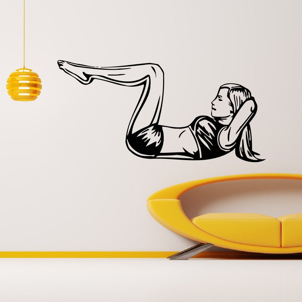 Sticker gym wall - Aliexpress Com Buy Fitness Vinyl Wall Decal Sport Gym Bodybuilding Girl Mural Art Wall Sticker Health Clud Fitness Centre Bedroom Home Decor From Reliable