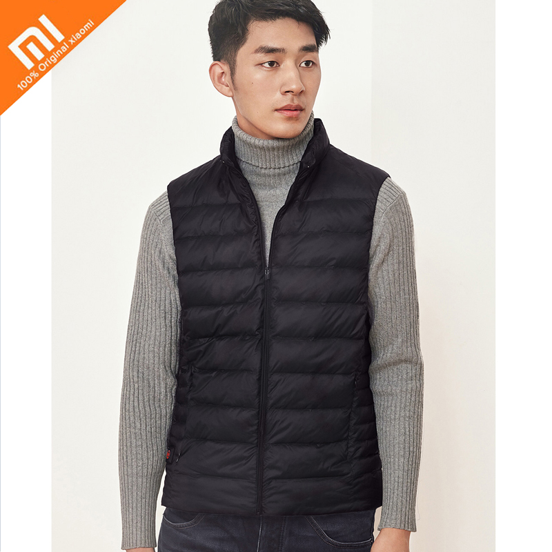 New Arrival Xiaomi mijia heated down vest Graphene temperature controlled heating 4 gear 90 White goose