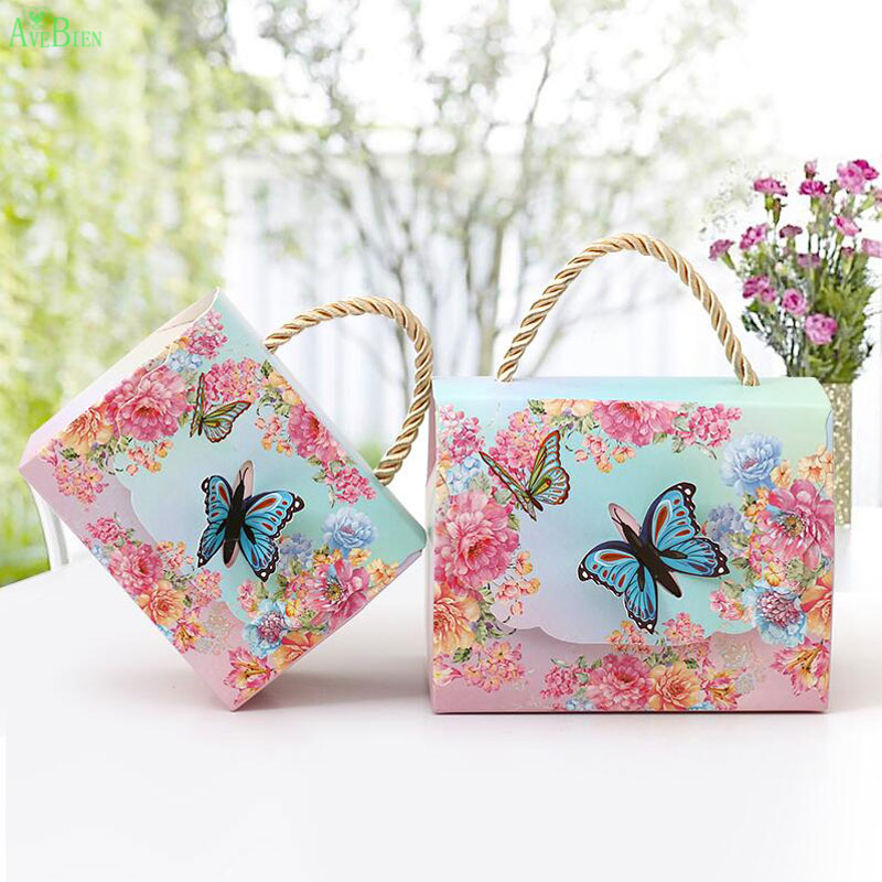 AVEBIEN Wedding Event Gift Bags Dessert Decoration Butterfly Flowers Paper Candy Box For Wedding Decoration Beautiful Gift 50pcs