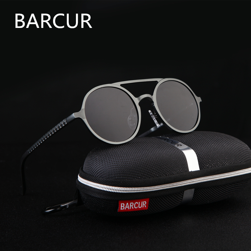 Brand Designer Steampunk Sun glasses Female Retro Aluminum magnesium Sunglasses Men Round Sunglasses Polarizes oculos de sol