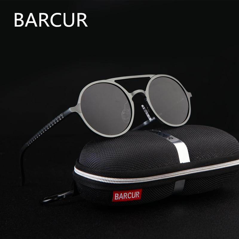 Brand Designer Steampunk Sun glasses Female Retro Aluminum magnesium Sunglasses Men Round Sunglasses Polarizes oculos de sol