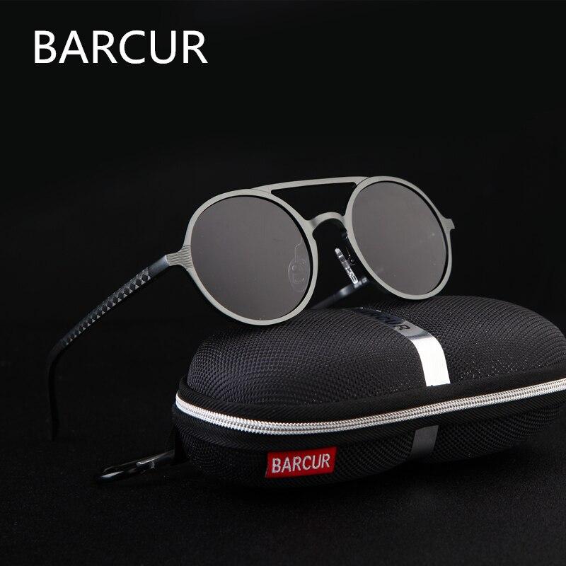 Marca Designer Steampunk óculos de Sol Retro Feminino Polariza Óculos de sol oculos de sol de Alumínio e magnésio Óculos De Sol Dos Homens óculos de Sol Redondos
