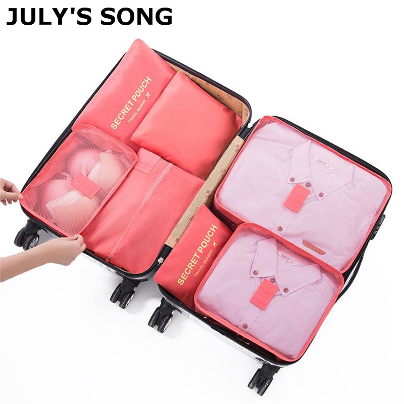 JULY'S SONG 7PCs/Set Travel Bag Zipper Packing Cubes Bags Shoes Clothing Pouches Bags Waterproof Luggage Container Organisers