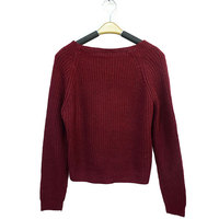 Women Bateau Neck Wine Red Knitting Sweater Long Sleeve Loose Cardigan Pullover