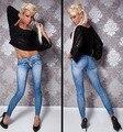 Women Stretch Denim Jean Look Skinny Leggings Slim Jeggings Pants Academies American Apparel Faux Denim Pencil Pants New