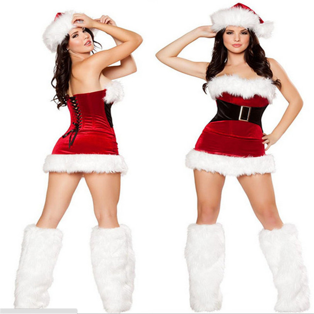 2aaab43f61 2018 Hot Sale Fashion high quality Sexy RED Fur Santa Cape Xmas Costume with  hat wholesale Sexy Christmas Dress Women
