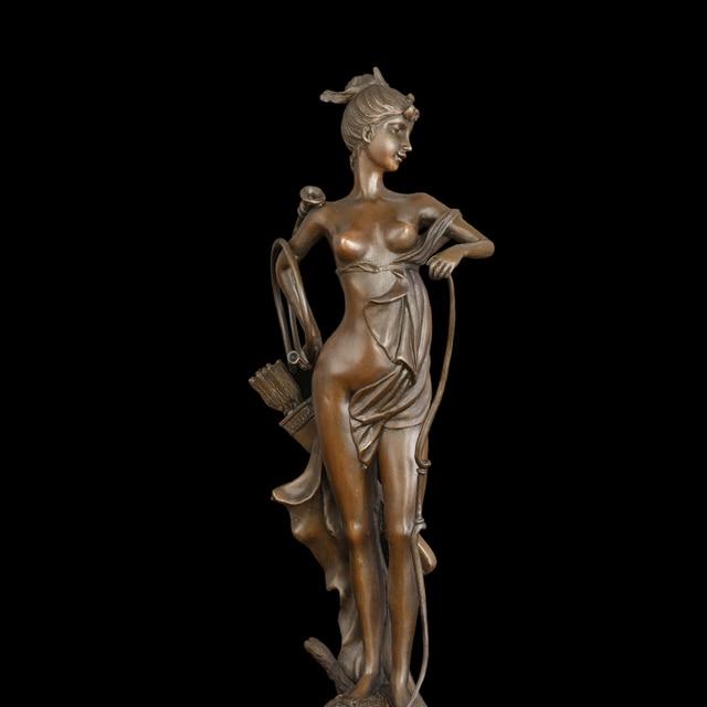 Atlie Bronzes Modern Classical Huntress Diana Statue Metal Bronze Topless Women Hunter Figurines Sculpture Home Decoration