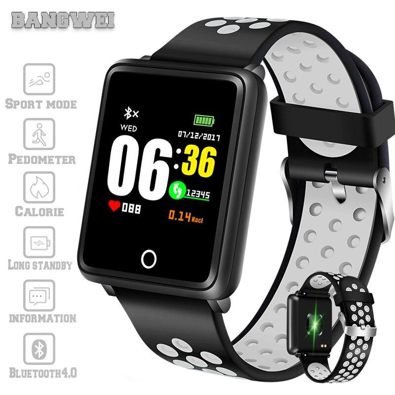 BANGWEI 2019 новые умные часы для мужчин для женщин водостойкий умный Браслет Группа приборы для измерения артериального давления мониторы