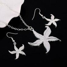 Women Cute Star Fish Pendant Necklace Hook Earrings Wedding Party Jewelry Set