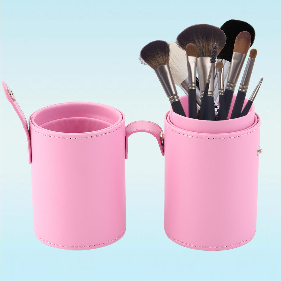 10Pcs Makeup Brushes Kit Holder Tube Convenient Portable Leather Cup Natural Hair Synthetic Duo Fiber Studio at fashion 12 pcs makeup brushes set studio holder portable make up cup natural hair synthetic duo fiber makeup brush tools kit