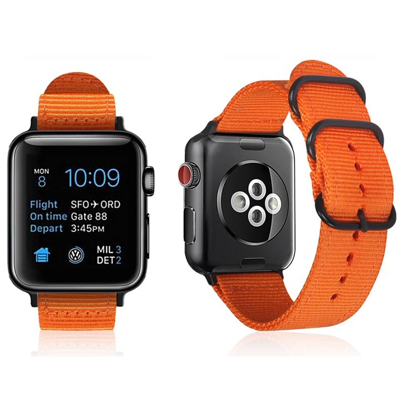 2018 Orange Hot Sale Nylon Strap for Apple Watch Band Series 3/2/1 Sport Bracelet Leather 42mm 38mm Strap for Iwatch Band