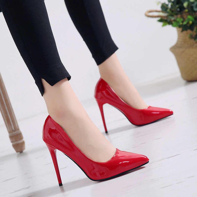 Kadın Pompaları Yüksek Topuklu Ayakkabılar Kadın Stiletto Sivri Burun Kadın Seksi parti ayakkabıları Ofis Lady Düğün Parti Artı Boyutu 35- 44