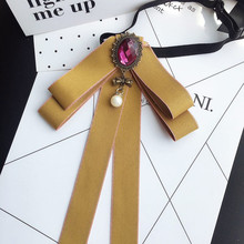 New Fashion Woman & Man Brooches Long Ribbon Big Bowknot Shirt's Bow Tie Pins Collar Accessories Fashion Jewelry