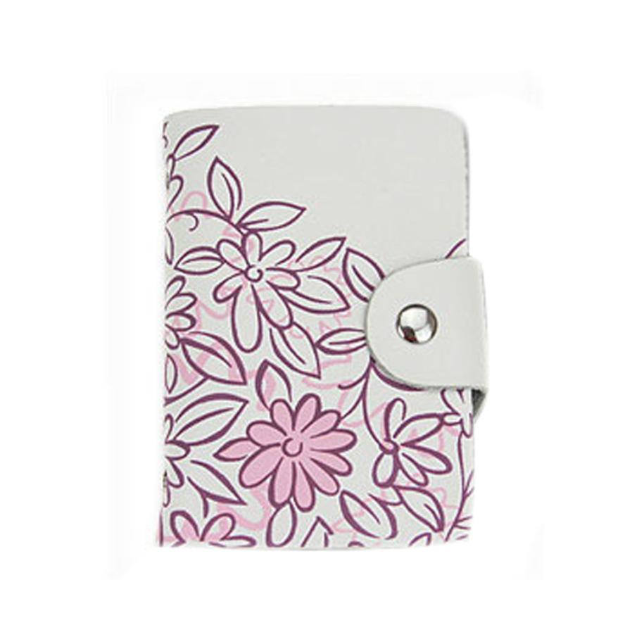 Women Card Holder Floral Parinting Leather Vintage Credit Card Case Small  Fresh Id Card Storage Holder