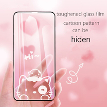cartoon pattern can be hiden toughened glass film for iPhone X,iPhone Xs Max,full covered cute ultra-thin strong cover