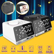 LED Digital Dual Alarm Mirror Clock Wireless bluetooth Bass Speaker FM Radio+2 USB Charger Ports Music Player Snooze Temperature(China)