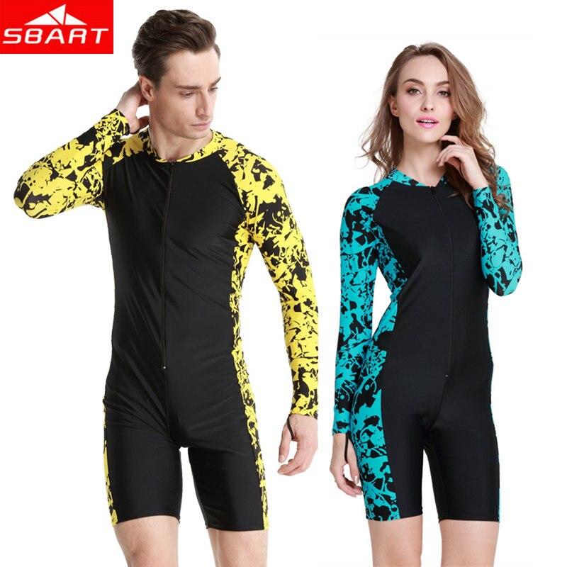 SBART Men Women Lycra Rashguards One-piece Long Sleeve Short Pant Upf50 Swimming Scuba Diving Bathing Suit Surfing Rashguards