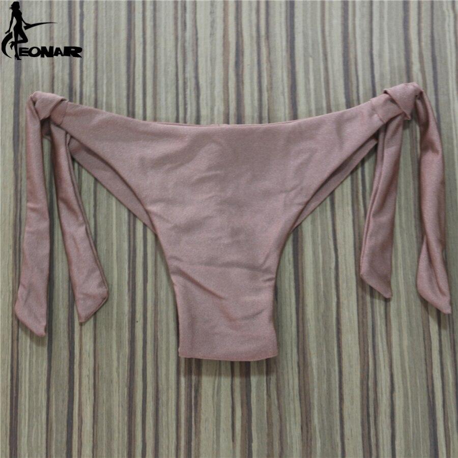 2020 Sexy Solid Thong Bikini Brazilian Cut Swimwear Women Bottom Adjustable Briefs Swimsuit Panties Underwear Thong Bathing Suit 6