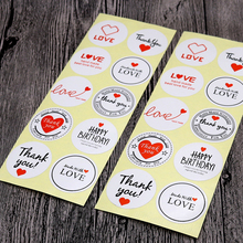 100PCS/lot Cute Vintage Love Thank you Round Kraft Seal sticker DIY Gifts posted  Baking Decoration label Multifunction