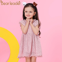 Bear Leader Girls Dress 2018 New Summer Brand Girls Clothes Lace Petal Sleeve Design Baby Girls