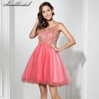 Милое милое короткое платье для выпускного вечера с фатиновым кристаллом, коктейльное платье 8 класса, вечерние платья LSX331