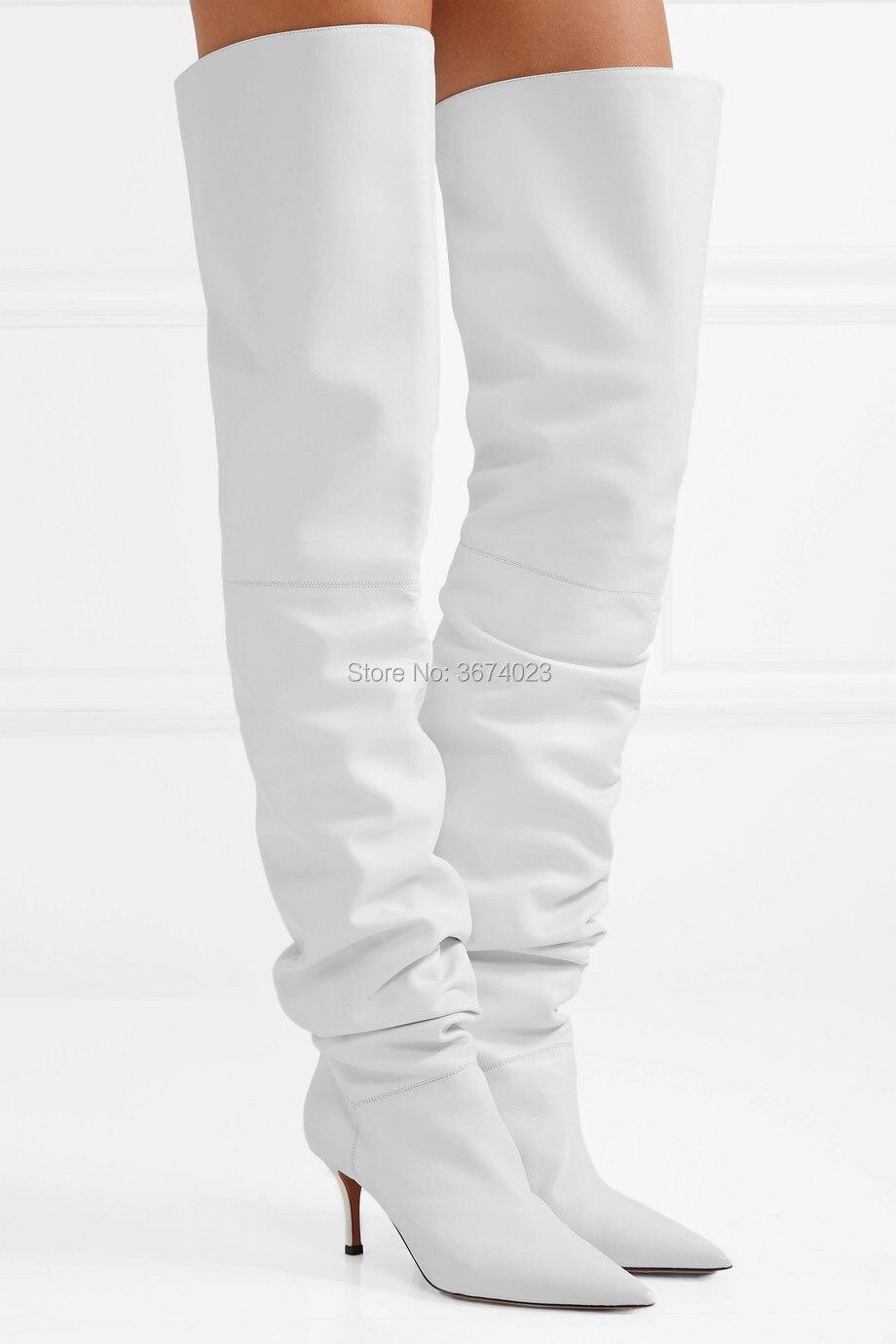 Qianruiti Women White Over Knee Boots