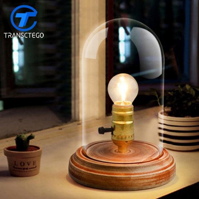 Vintage Desk Lamp European Style Glass Shade Bedside Lamp Led Table Lamp  Wood For Bedroom Retro