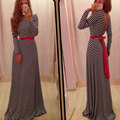 Striped Slim Elastic Women Dress 2017 Crew Neck Long Sleeve Maxi Summer Dresses Sexy Backless Open Back Party Vestidos With Belt