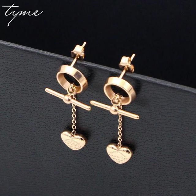 Tyme Anium Steel Hear Forever Love Earring Rose Gold Color Tel Long Stud Earrings For Women