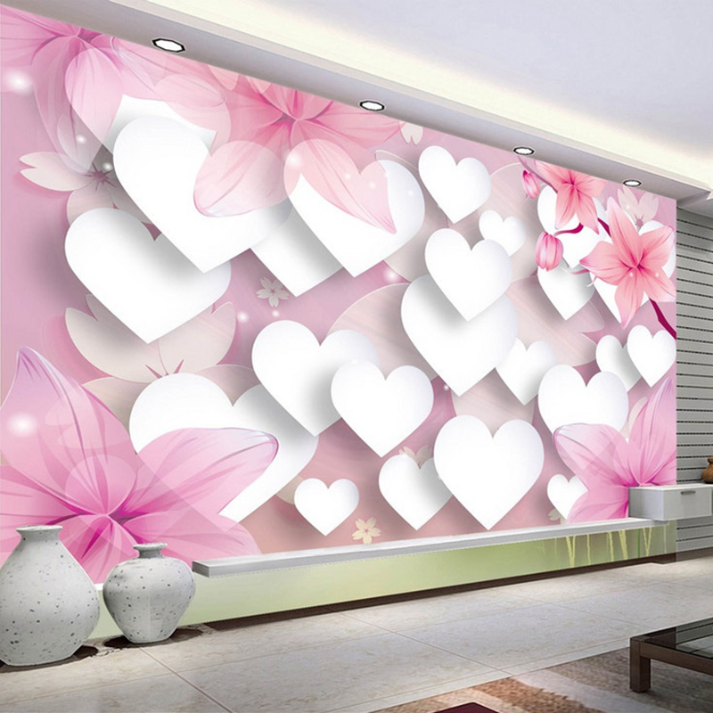 10 Living Rooms We Love: Custom Photo Wallpaper 3D Romantic Pink Love Large Wall
