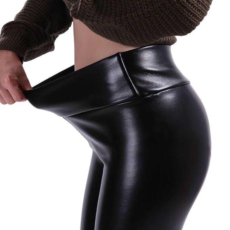 NORMOV S-5XL Plus tamaño de cuero de las mujeres Leggings cintura alta Slim elástico Legging negro de cuero de la PU de moda Pantalones de las mujeres