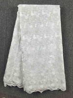 White lace dubai african lace fabric new product ideas 2019 nigeria lace 095 100% cotton laces 5yards for party